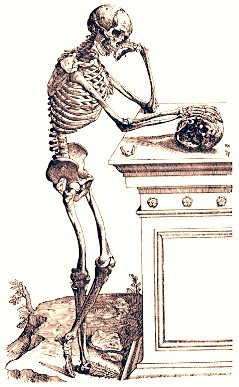 """Skeleton pondering"", a sketch from the Italian anatomist Vesalius and a typical ""memento mori"" image."