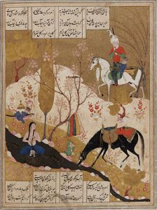 Famous moment when Khosrow discovers Shirin bathing in a pool, described by the poet Nizami and painted here by an anonymous miniaturist