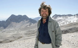 Messner, fit and hirsute at age 72, at the opening of his last museum