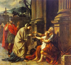 """Belisarius begging for alms"" by Jacques-Louis David"