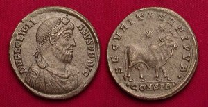 A coin of long-bearded Julian with an obverse of a bull, symbolizing the enormous scale of his ritual sacrifice to Helios