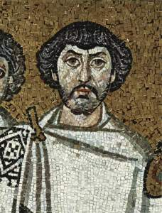 Mosaic from San Vitale in Ravenna, thought to represent the black-haired Belisarius